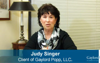 Judy Singer Testimonial Video For Gaylord Popp Law Firm