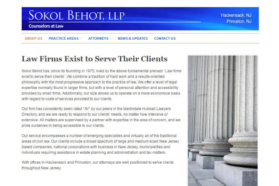 Sokol Behot Law Firm Website - Website Design & Content
